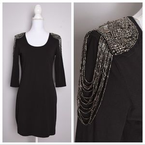 H&M Beaded Shoulders 3/4 Sleeve Mini Dress
